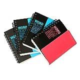 4 X Cosanter Mots Notebook Cahier à Spirales Double Bobine Connecté Calepin 11.5 * 9.7 cm