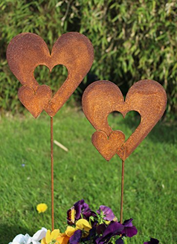 Blümelhuber Gartenstecker Set Doppel Herzen 2 x 63cm Metall Rost Gartendeko Edelrost