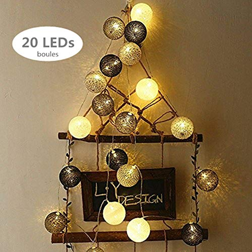 ELINKUME LED Guirlandes Lumineuses, 20 Boules de Coton Couleur  Lumineuse-Blanc Chaud, Alimenté 95d52a3de883