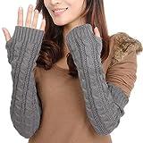Butterme Frau Damen Wolle Extra lange Fingerless Handschuhe Dehnbar Armlinge Winter Wärmer Strick...