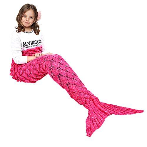 Ecrazybaby888 coperta a coda di sirena fatta a mano, coperta a maglia calda per tutte le stagioni divano trapunta a soggiorno per bambini, modello di squame di pesce, 140 x 70 cm, rosa