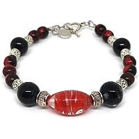 Le Gioie di Eva - Bracciale con perle in vetro di Murano rosse e nere fatte a mano