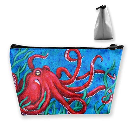 Rote Krake-Malerei-Meerespflanze-Trapez-Frauen-Kosmetik sackt Multifunktionswäsche-Aufbewahrungstasche EIN