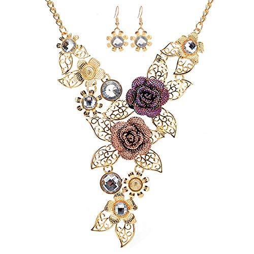Liquidazione offerte, Fittingran Set di Gioielli da Donna Elegante Vintage con Fiore Dichiarazione Orecchini (Oro)