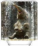 Duschvorhang mit Ösen, Motiv: süßer Elefant, wasserabweisender Stoff, ideal für Kinder, 150x180cm, Polyester, Elephant-l, 71x71inch