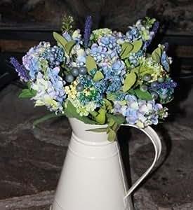 Bouquet Hortensia Campagnard Fleur Artificiel Look Shabby Chic (646)