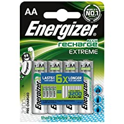 Energizer E300323800 2300MAh AA Accu Recharge Extreme Batteries 4 Batteries Pack