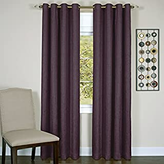 Achim Home Furnishings Taylor Lined Blackout Grommet Window Curtain Panel, 50 x 63, Aubergine
