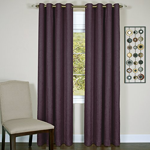Achim Home Furnishings Taylor Lined Blackout Grommet Window Curtain Panel, aubergine, 50 x 84 Inches (Blackout-panels)