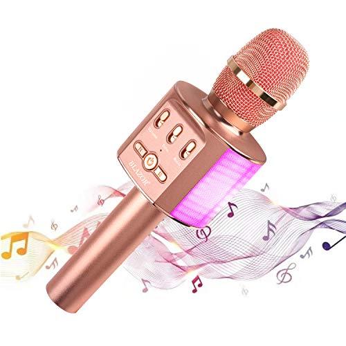 Karaoke Bluetooth Microfono wireless,portatile Karaoke,Mic portatile per Cantare e Registrare,con doppio altoparlante,per iPhone/Android/iPad,compleanno, regalo per bambini
