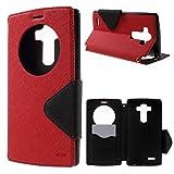 Roar LG G4 Handyhülle, Handy Tasche, Flip Case Schutzhülle, Bookcase Handytasche, Premium Etui mit Fenster für LG G4, Rot