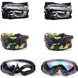 COSORO 2 Pcs Lunettes De Protection De Sécurité Et 4 Pcs Réglable Multi-usages Masque Tactique pour Nerf N-Strike Elite Pistolet Jouet Pistolet Jeu Protection des Yeux