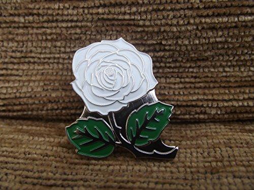 Mainly Metal - Spilla in metallo smaltato, motivo: rosa inglese, colore: bianco