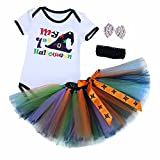 FEESHOW 3PCS Infant Baby Girls My 1st Halloween Outfits Romper with Tutu Skirt and Headband Fancy Party Costume White&Black 3-6 Months