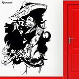 guijiumai Pirate Bad Girl Gun Gangster Cool Wall Sticker Vinyle Home Decor pour Salon Chambre Décoration Amovible Murale Noir M 42x61cm