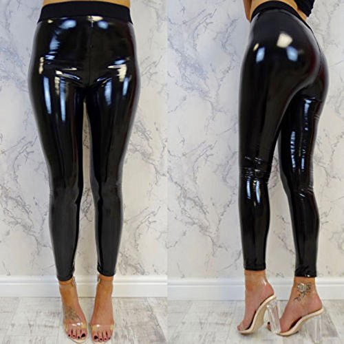310c5d4612478 Acutty Womens Sexy Black Pants Slim Soft Strethcy Shiny Wet Look Faux  Leather Ladies Leggings Trousers