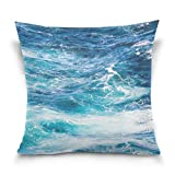 Best Blue Wave Soft Pillows - Double Sided Blue Ocean Wave Cotton Velvet Square Review