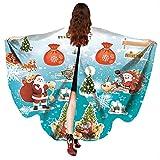 Marlene Frauen Männer Weihnachten Print Poncho Kostüm Zubehör Schmetterlings flügel Schal-Schal für Show/Party(Rot, Blau)
