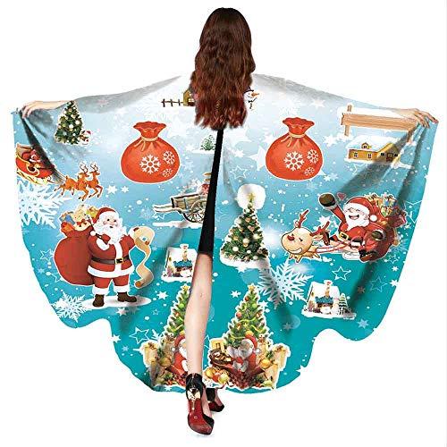 WOZOW Damen Schmetterlingsflügel Faschingkostüme Poncho Schal Tuch Umhang Nymphe Pixie für Party Cosplay Karneval Fasching (Farbverlauf TürkisTürkis)