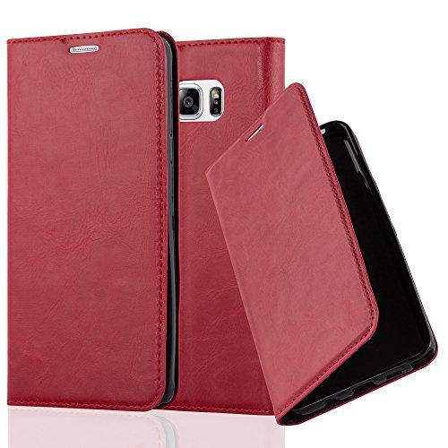 Cadorabo Hülle für Samsung Galaxy Note 5 - Hülle in Apfel ROT – Handyhülle mit Magnetverschluss, Standfunktion und Kartenfach - Case Cover Schutzhülle Etui Tasche Book Klapp Style