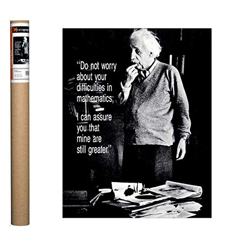 Eurographics Einstein - Do Not Worry Poster, Papier, Black, Grey, White, 19.75 x 15.75 inch - 15.75 X 15.75 Poster