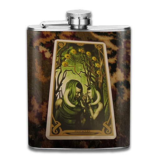Presock Flachmann,Stainless Steel Hip Flask 7 Oz (No Funnel) Tarot Funny Full Printed