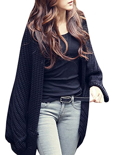 Azbro Women's Casual Solid Color Ribbed Knit Open Front Cardigan, Black One Size (Ribbed Knit Cardigan)