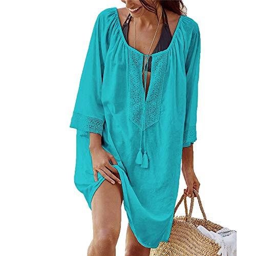Damen Baumwolle Kaftane (Hnks Bikini-Bluse Frauen vertuschen Häkelspitze Bikini Badeanzug Kleid Baumwolle Badeanzug Langarm Sommer beiläufige lose Strandkleid Beachwear Bademode Top Nacht T-Shirt)