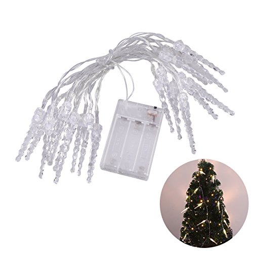 LEDMOMO Warm White Icicle String Lights Operiert Fairy Lights für Hochzeit Party Weihnachten Schlafzimmer Dekor 3 Meter 20 Tube (Fairy Tube)