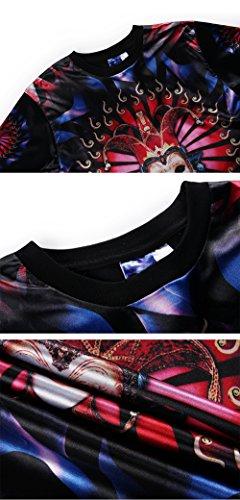 Yonbii Neuer Entwurfs-feine Art und Weise Mensblumen-Druckmänner Eis-Silk Kurzhülse T-Shirt Beige
