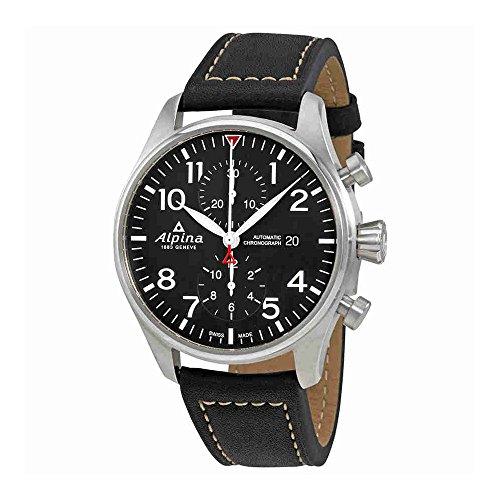 Alpina Startimer Pilot Automatik Uhr, Chronograph, AL-725, Schwarz, AL-725B4S6