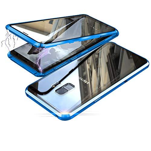 Jonwelsy Cover per Samsung Galaxy S9, Adsorbimento Magnetico Paraurti in Metallo con 360 Gradi Protezione Case Doppi Lati Trasparente Vetro Temperato Flip Custodia per Samsung S9 (Blu)
