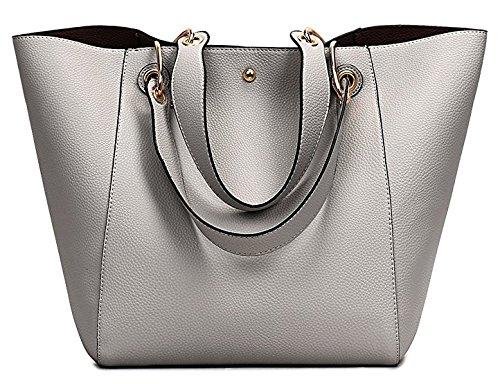 JOMOQ Taschen Damen Leder Große Handtasche Europäische stil Schultertaschen Umhängetasche Shopper Tasche Henkeltasche Beuteltasche Weich Damentasche Sliver