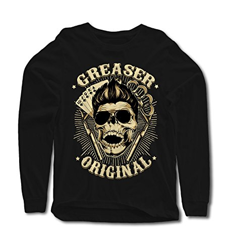 Skull Long Sleeve Tee (Longsleeve Greaser Original S-4XL Rockabilly Travolta 50er 60er 70er Vegas Skull)