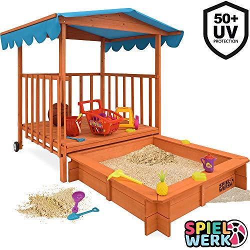 Sandkasten Dach XL | Sonnenschutz UV> 50 | rollbare Spielveranda | Spielhaus Sandbox Holz Deckel für Kinder