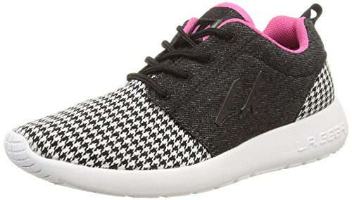 L.A. Gear Sunrise, Low-Top Sneaker donna, Multicolore (Black-Whte-Pink 02), 37