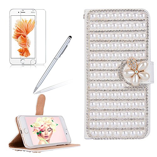 Custodia per iPhone 8 Plus / 7 Plus DIY Brillantini Portafoglio - Girlyard 3D Bling Glitter Crystal Strass Diamante Cover in Pelle Colorata Fiore Farfalla Disegno Libro Antiurto Supporto Wallet Chiusu Bianca Perla