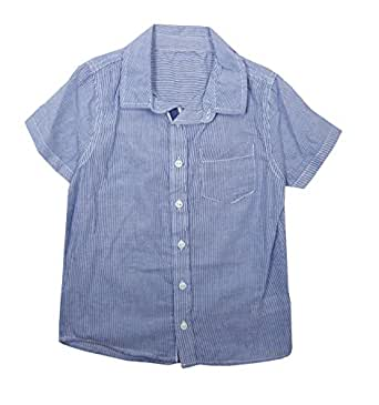 Boys Blue Short Sleeve Striped Shirt with Buttons on the front (A613) (2/3 years)