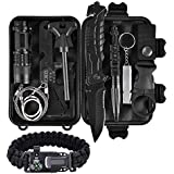 ThreeCat Outdoor Survival kit 11 in 1, Emergency Survival Gear Tool with Knife, Compass, Blanket, fire Starter, Flashlight, Whistle, Tactical Pen etc for Camping, Hiking