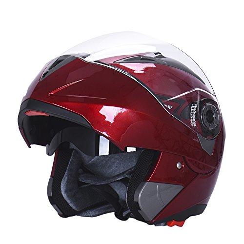 Hjuns Motorradhelm Integralhelme mit Visier - für Offroad/Enduro/Touring Sport (L, Red) - 4