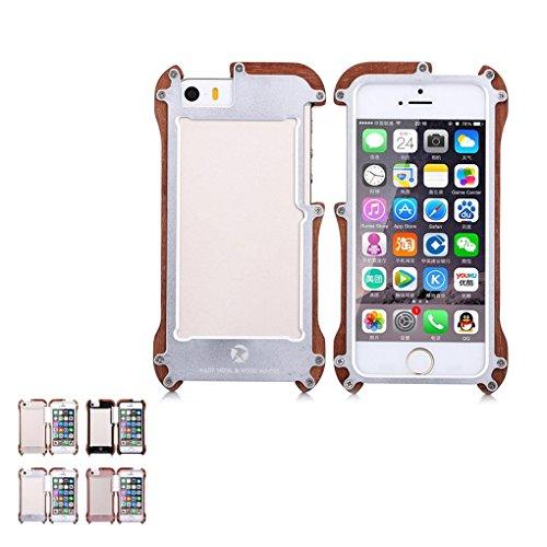 LUFA Pour le cas du cadre iPhone5 / 5S / SE R-Just Bois Fer + Métal ShockProof Bumper Or rose&13*7*1.1cm Noir + Rouge