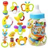 Baywell Baby Rassel Beißring Set Spielzeug, Neugeborenen, 9 Stücke Silikon Baby Shake und Grab Rassel Spielzeug Ostern Geburtstag Weihnachten Geschenk (9 Stücke)