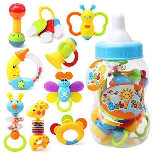 Preisvergleich Produktbild Baby Rassel Beißring Set Spielzeug, Baywell Neugeborenen, 9 Stücke Silikon Baby Shake und Grab Rassel Spielzeug Ostern Geburtstag Weihnachten Geschenk (9 Stücke)