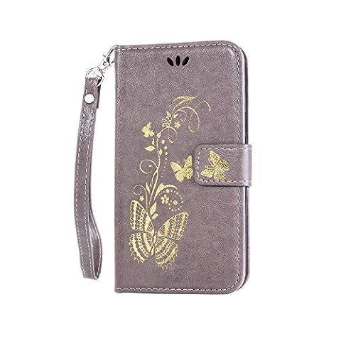 Coque Samsung Galaxy J1 ACE,Coffeetreehouse Bronzante Papillon Fleur imprimé étui