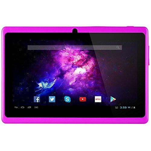 Alldaymall A88X Tablet de 7 Pulgadas (2017 Nuevo) - Android 4.4, Quad Core,8 GB ROM, HD 1024x600, Wi-Fi, Bluetooth, OTG,Soporte para juegos 3D - Violett (3rd Generation)