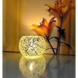 Home Decoration Votive Tea Light Silver Candle Holder For Diwali 3 X 4 Inches (Candle Included)