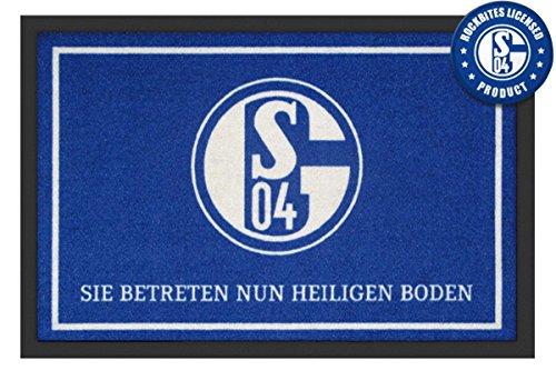 Close Up FC Schalke 04 Fußmatte Sie betreten Nun heiligen Boden 60x40cm, Rutschfeste Unterseite, offiziell lizenziert