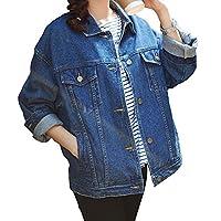 SHAREWIN Loose Women Jean Jacket Long Sleeve,Blue Boyfriend Denim Jacket Ladies, Casual Denim Coat Heavy Duty Washed Pocket Button(L-Chest 44''Blue)