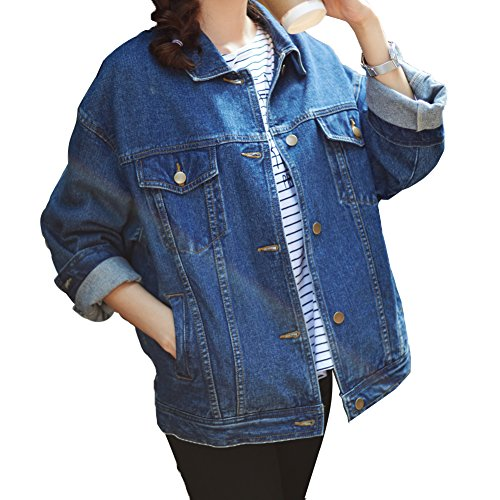 sharewin lose Frauen Jean Jacket Long Sleeve, blau Boyfriend Denim Jacke Damen, denim Coat Heavy Duty Washed Pocket Button Gr. Small, blau