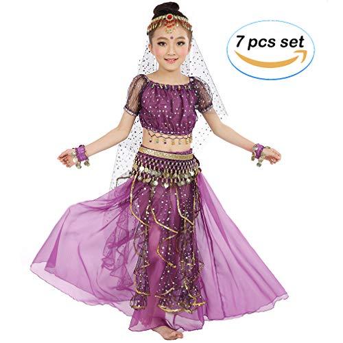 Magogo Mädchen Bauchtanz Kostüm Geburtstagsparty Kostüm, Kinder Cosplay Arabische Prinzessin Dancewear Glänzende Karneval Outfit (S, Lila)